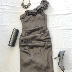 Xscape One Shoulder Metallic Dress